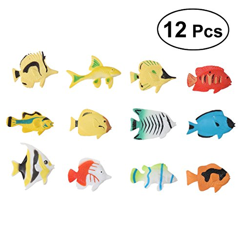 (Pixnor Ocean Animal Tropical Fish Figure Model Preschool Kids Toy - 12 Pieces)