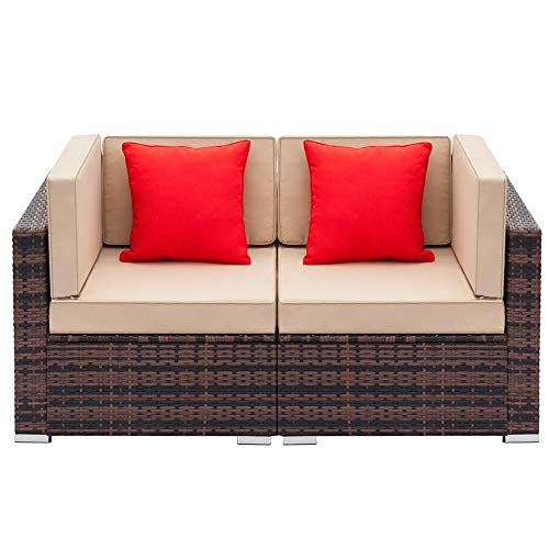 AYNEFY Corner Sofa Set, Modern PE Weaving Rattan Couch Left and Right Seat Sofa Lover Set Corner Chair Modular Sectional Sofa Assembly with Soft Cushion Perfect for Living Room Patio Garden