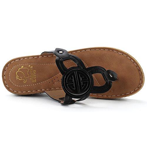 Alexis Leroy Women's Slingback T-Strap Casual Slip On Flip Flops Shoes Black JoMJEDYD