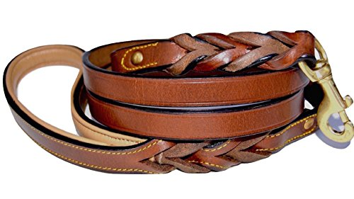 Soft Touch Collars Leather Braided Dog Leash, Brown 6ft x 3/4 Inch , Naturally Tanned 6 Foot Full Grain Leather Lead (And Leather Leash Set Collar)