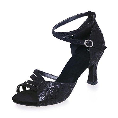 Moderne Intérieur YC Pratique Latin black et Satin Jazz Femmes Fine L Satin Extérieur Sandales avec Les Débutants Dansant p6xqOw