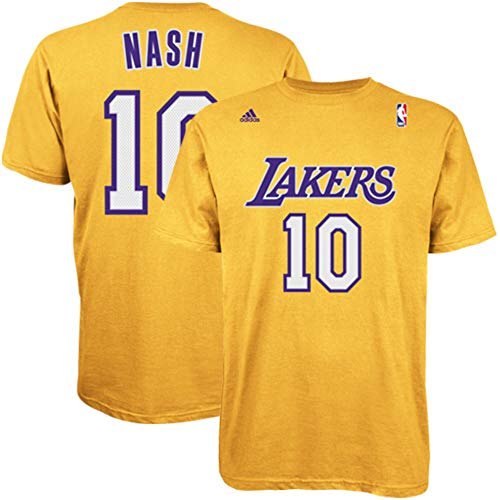 adidas Steve Nash Los Angeles Lakers Gold Jersey Name and Number T-Shirt XX-Large