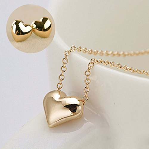 Elegant Women Gold Love Heart Short Necklace Earring Fashion Jewelry Sets Gift