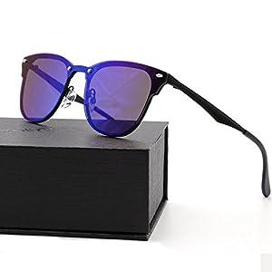 Natwve&Co Cat eye Fashion Sunglasses for Men Women Black Blue Lens with Rice Spike (Purple)