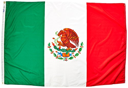 Annin Flagmakers Model 195709 Mexico Flag Nylon SolarGuard NYL-Glo, 4x6 ft. 100% Made in USA to Official United Nations Design Specifications