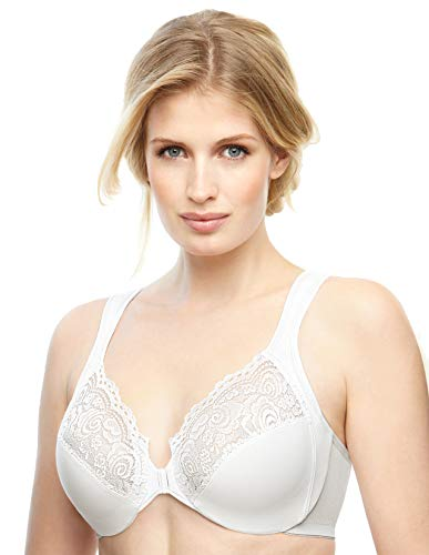 Glamorise Women's Plus-Size Elegance Front-Close Lace Underwire Bra, White, 46B
