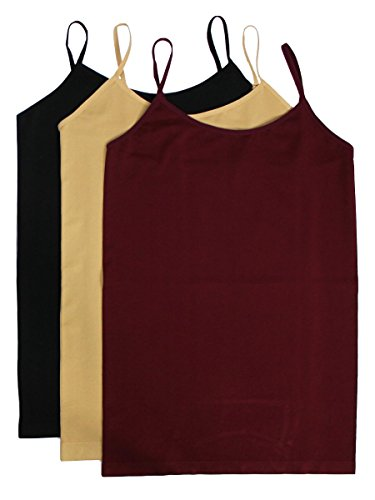 3 Pack, Black, Beige & Burgundy Plus Size Basic Camisole Tank Top – XL-3XL …