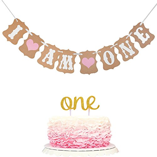 "Winrase 1st Birthday party decoration ""I Am One"" Banner and Double Sided Gold Glitter One Cake Topper for Baby Girl"
