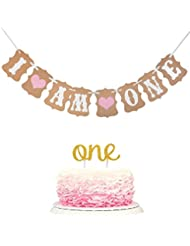 """Winrase 1st Birthday party decoration """"I Am One"""" Banner and Double Sided Gold Glitter One Cake Topper for Baby Girl"""