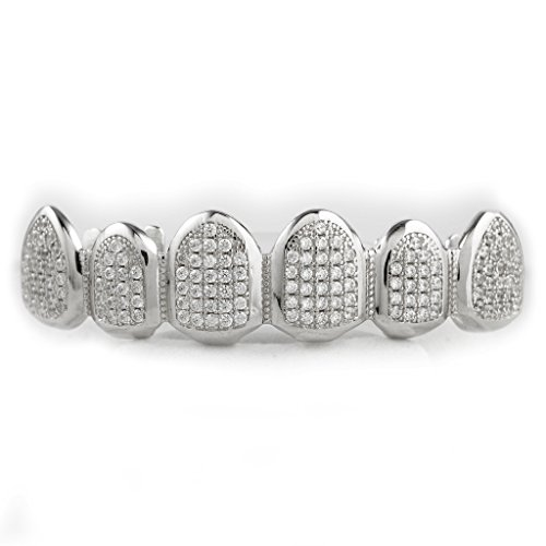 Sterling Silver Tooth - .925 Sterling Silver Teeth Grillz CZ CUSTOM Top Grill (Top Only)