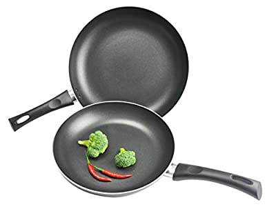 Kitchen Pro Nonstick Fry Pans, 10 and 12-Inch, 2-Piece Set, Black