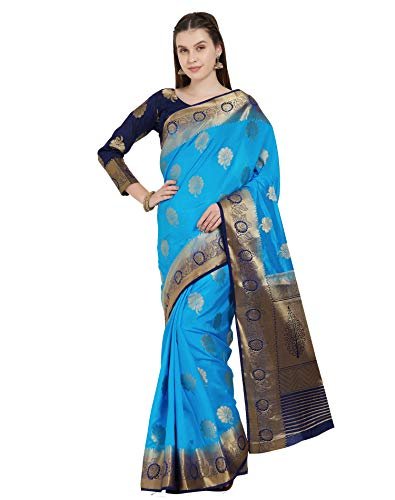 Viva N Diva Sarees for Women's Banarasi Art Silk Blue Woven Saree with Un-Stiched Blouse Piece,Free Size