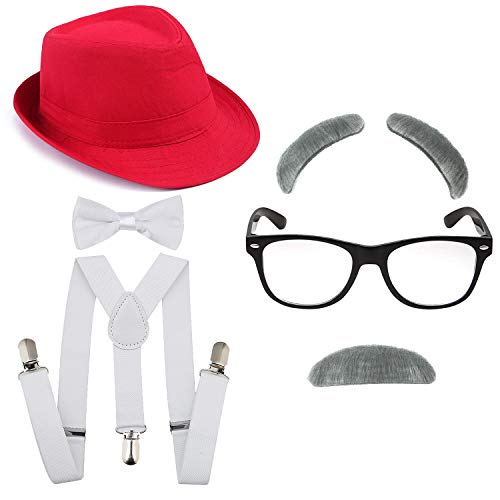 Kakaxi 1920's Boys Fedora Gangster Hat,Suspenders w/Pre-Tied Bow Tie, Old Man Eyebrows,Moustache,Nerd Fake Glasses (OneSize, Red Hat & White -