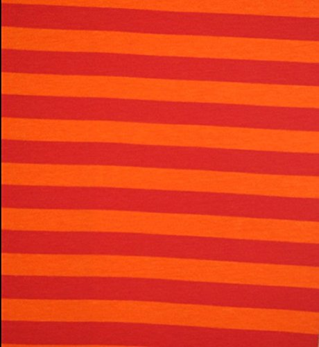 (Knit Tangerine 1/2 inch Stripes Design Fabric by the Yard, 95% Cotton, 5% Lycra, 60 Inches Wide, excellent quality, medium weight, 4 way stretch (3)