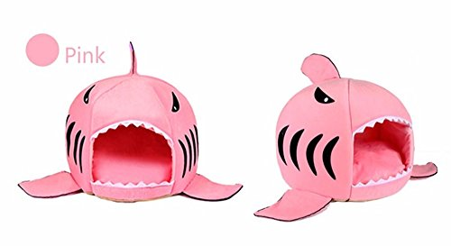 House Pet Sleeping Bag Shark Dog Kennel Cat Bed Cat House Warm Soft  S  Pink