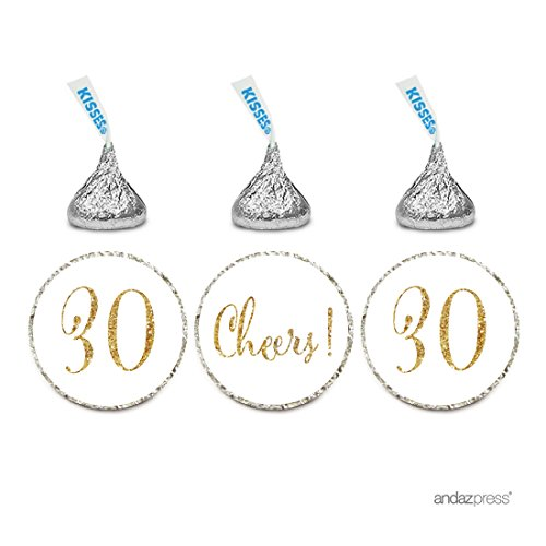 Andaz Press Gold Glitter Print Chocolate Drop Labels Stickers, Cheers 30, Happy 30th Birthday, Anniversary, Reunion, White, 216-Pack, Not Real Glitter, For Hershey's Kisses Party -