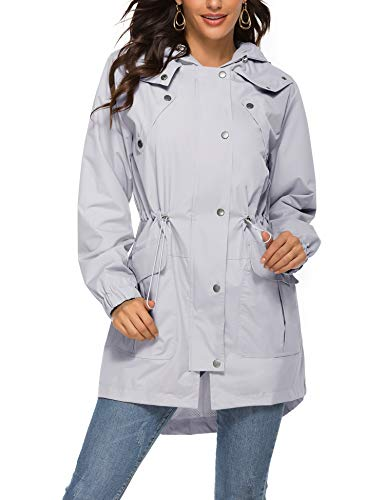 Avoogue Outdoor Active Rain Jacket Women Waterproof Lightweight Hood Raincoat
