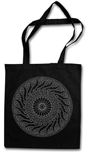 MANDALA III Hipster Shopping Cotton Bag Cestas Bolsos Bolsas de la compra reutilizables �?Budismo Hinduismo Inde Yantra