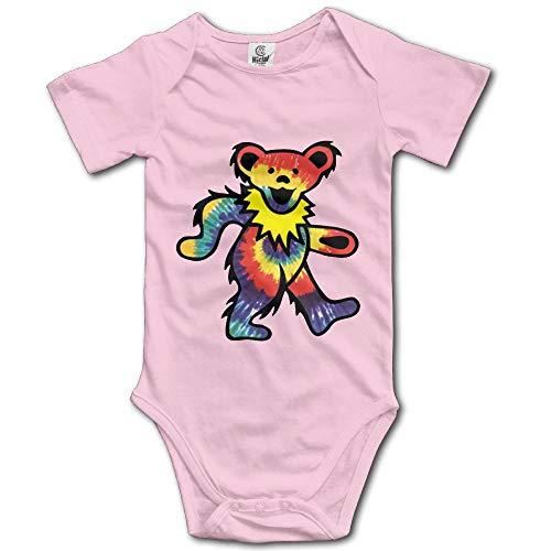 Trikahan Rock The Grateful Dead Dancing Bear Baby Onesie Infant T Shirt Bodysuits Jumpsuit Outfit Clothes Pink