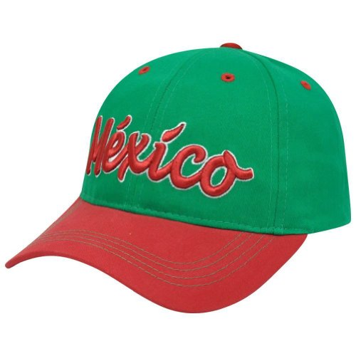 New! Green & Red FMF MEXICO Soccer Futbol 3D Embroidered Two Tone Adjustable Buckle Back Cap / Hat