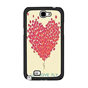 Hight Impact Hard Plastic Love Heart Design Cover Case for Samsung Galaxy Note 2 N7100 Hipster Back Skin for Girls (red balloons)