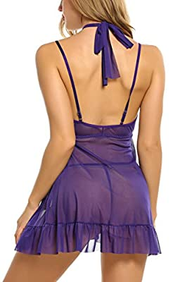 Avidlove Womens Open Cup Sexy Halter Strappy Lingerie Cupless Chemises Babydoll
