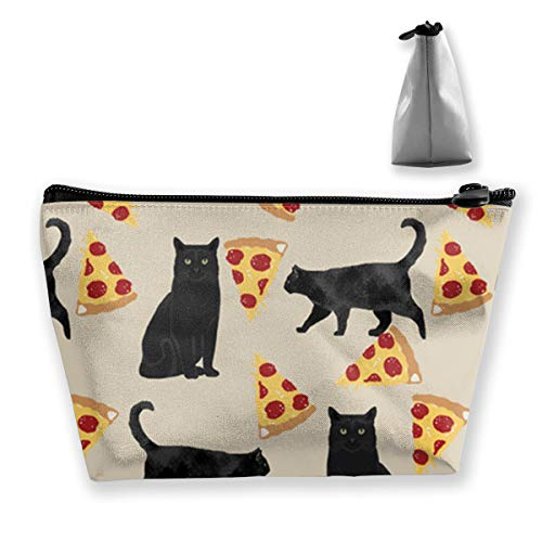 Black Cat Fabric Pizza Makeup Cosmetic Tote Bag Carry Case,Travel Case Cosmetic Bag,Large Enough to Hold Many - Fabric Bag Pizza Holds