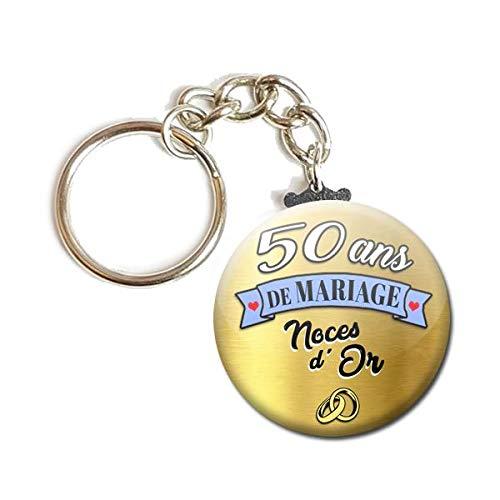 Idée Cadeau Couple 50 Ans Porte Clés Chaînette 3,8 centimètres 50 Ans de Mariage Noces d' or