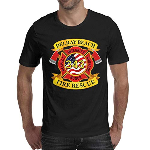 DXQIANG Delray Beach Fire Rescue Design Mens Novelty Shirts Comfort Soft Tee Tops