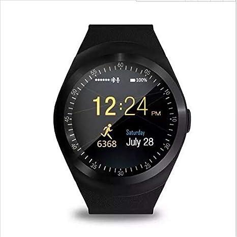 379830afd3f Relogio Inteligente Smartwatch Y1 c Chip Bluetooth Redondo Preto ...