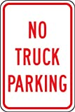 Accuform FRP148RA Engineer-Grade Reflective Aluminum Parking Sign, Legend''NO TRUCK PARKING'', 18'' Length x 12'' Width x 0.080'' Thickness, Red on White