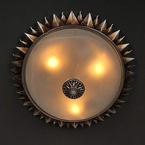 marron 26cm YHSGD Rétro Plafonnier Lampe voituretoon Soleil Fleur résine Lustre pour Chambre à Coucher Salon étude éclairage,marron,26cm