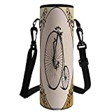 iPrint Water Bottle Sleeve Neoprene Bottle Cover,Bicycle,Retro Big and Small Tired Bicycle on A Vintage Round Framed Floral Background Boho,Tan Cream,Fit for Most of Water Bottles