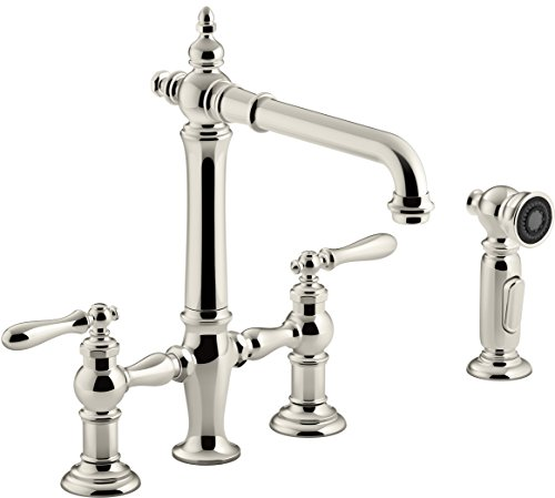 Kohler K-76519-4-SN Artifacts Deck-Mount Bridge Kitchen Sink Faucet with Lever Handles and sidespray Vibrant Polished Nickel