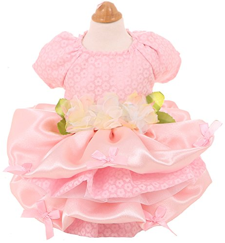 MaruPet Elegant Princess Lace Flower Fairym Dress Silky Tutu with Bowknit for Small, Extra Small DogTeddy, Pug, Chihuahua, Shih Tzu, Yorkshire Terriers Pink XS