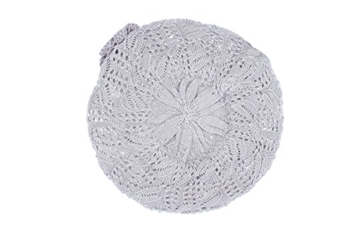 (Accessory Necessary AN Womens Light Gray Beanie Beret Hat Crochet Knit Open Weave Flower Leaf Design)