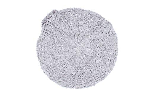 Accessory Necessary AN Womens Light Gray Beanie Beret Hat Crochet Knit Open Weave Flower Leaf Design ()