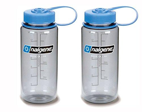16 Oz Nalgene Water Bottle - Nalgene Wide Mouth Bottle, 16oz, Gray Bottle with Light Blue Cap, Set of 2