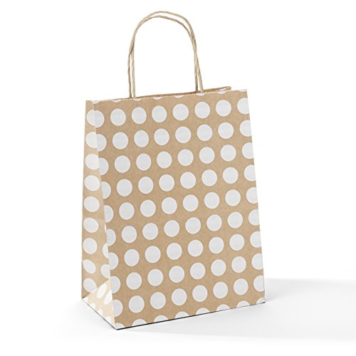 GSSUSA 8x4.75x10 50 Pcs Kraft Paper Bags Shopping Bags Grocery Mechandise Paper Gift Bags (Brown with White Dot)]()