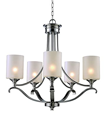 Trans Globe Lighting Contemporary Lodge Single Tier Chandelier, Brushed Nickel