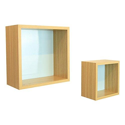 wudenhom wood floating shelves set of 2 storage wall mounted square shelves for home d cor 11 7. Black Bedroom Furniture Sets. Home Design Ideas
