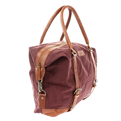LECONI XL Shopper für Damen & Herren Unisex Handgepäck Vintage-Style kleiner Weekender Sporttasche Used-Look Fitnesstasche aus Canvas + Leder 50x38x12cm LE2006-C bordeaux / braun 3te1zMuh6