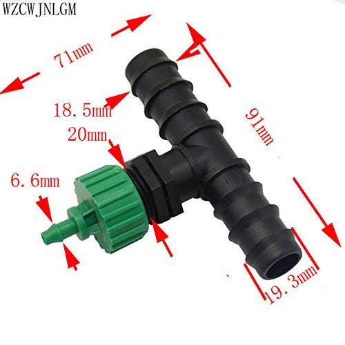 Kammas 16mm to 20mm Garden Hose Barb tee Fittings Micro Irrigation Hose Connector 1/2' Thread to 4/7mm Hose Connector 2pcs - (Color: 20mm to 4I7mm)