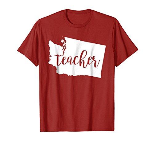 Mens Washington Teacher home state back to school tshirt Medium (Medium Cranberry)
