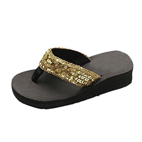 Anti Slipper Flip Sandals amp; Gold Slip Outdoor flops Indoor Summer Women's Sequins IqzUExX