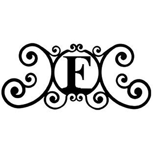 24 Inch House Plaque Letter - Wrought Iron Metal Scrolled Monogram Initial Letter Home Door Wall Hanging Art Decor Family Name Last Name Letter Sign (F, 24 x 11 inches,Thick 0.039 inch (1mm)) (Family Metal Plaque)