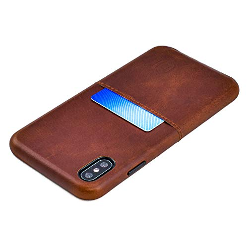 Dockem Virtuosa M1 Wallet Case for iPhone Xs Max; Built-in Metal Plate, Designed for Magnetic Mounting; Ultra Slim Top Grain Genuine Leather Card Case; M-Series [Brown]