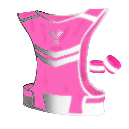 The 247 Viz Reflective Vest With Inside Pocket & 2 High Visibility Running Safety Bands, Neon Pink, Large (Neon Mesh Dog Harness)