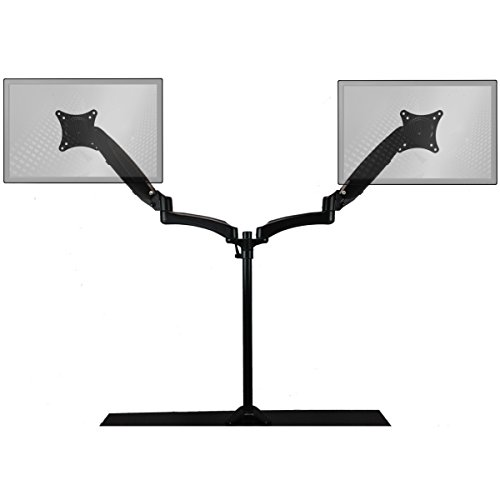 Sit-Stand Desk Mount Monitor Arm Adjustable Hydraulic Arm by Home Concept - Support Your Two Monitors at The Correct Height for Ergonomic Comfort (Extended, Dual Screen, Black)