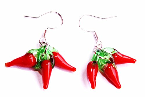 Handmade Lampwork Sicilian Red Pepper Chili Glass Charm earrings! (Pepper Charm)